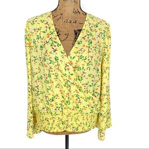 For The Republic Floral Bell Sleeve Faux Wrap Top